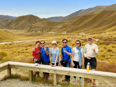 Group photo at the Lindis pass lookout,