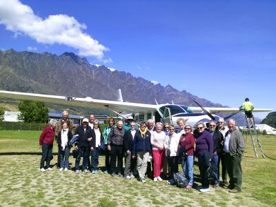 Group photo at Queensown airport - MoaTrek Tour Gallery February 2017