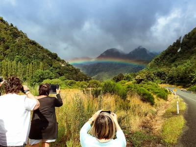 Rainbow over the Southern Alps - MoaTrek Tour Gallery February 2017