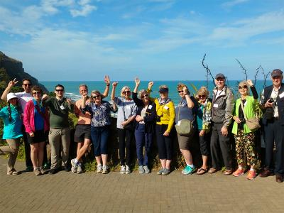 Group photo at Muriwai Beach, Auckland West Coast- MoaTrek Tour Gallery