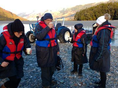 Hot drinks after Dart River Jet Boating on the winter tour
