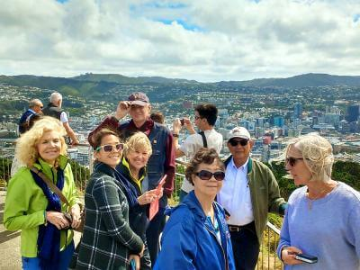 Group of people at Mt Victoria lookout on winter tour