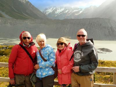 Group of people standing at Kea Point Mt Cook on the winter tour