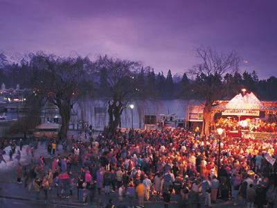 Night time festivities at the Queenstown Winter Festival on the winter tour