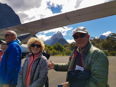 Travellers at Milford Sound airfield