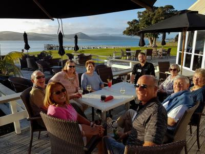 Dinner on the deck overlooking the Hokianga Harbour