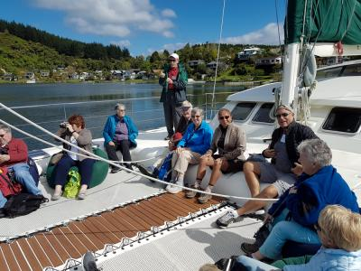 Team on the yacht, Lake Rotoiti