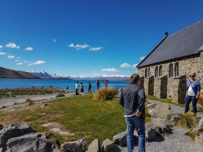 Views of Lake Tekapo from the Church of the Good Shepard