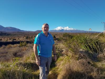 MoaTrek Kiwi Guide Matt with Mt Ruapehu in the background