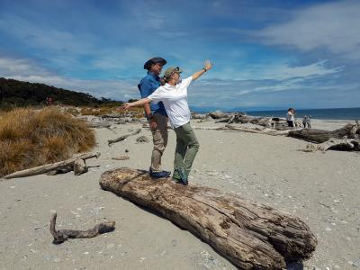 Balancing on the log, West Coast New Zealand