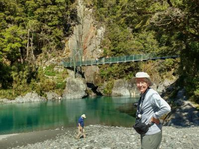 Our guests exploring the Blue Pools Track in Mount Aspiring National Park