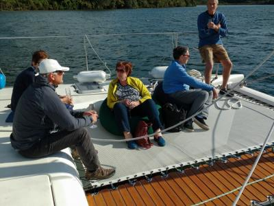 Relaxing on board of a yacht on Lake Rotoiti