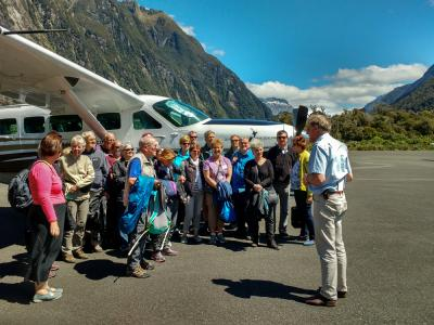 Briefing before flying over Milford Sound