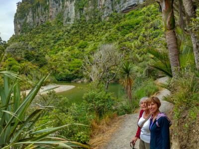 Guests hiking at the West Coast of New Zealand