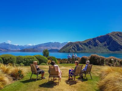 Relaxing in the sunshine at the edge of Lake Wanaka