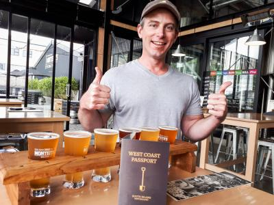 Beer tasting at Montheiths on New Zealands west coast