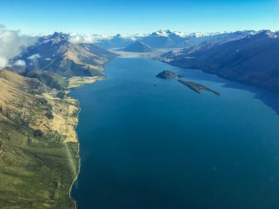 A view of Lake Wakatipu from the scenic flight