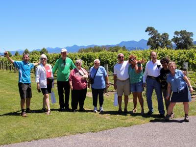 MoaTrek guests and guide at a Marlborough wineryst Estate Wines