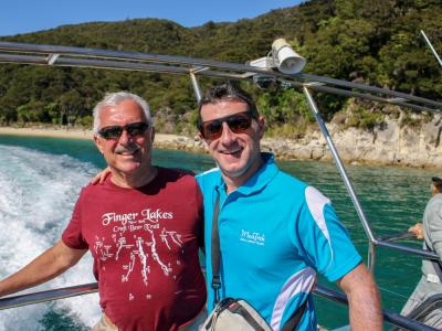 MoaTrek Kiwi Guide Sean and guest cruising in Abel Tasman