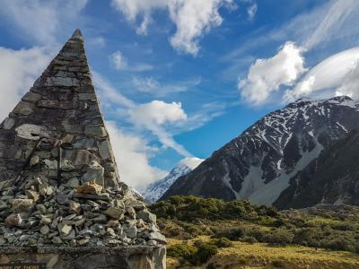 Alpine memorial and Mt Cook in the Hooker Valley