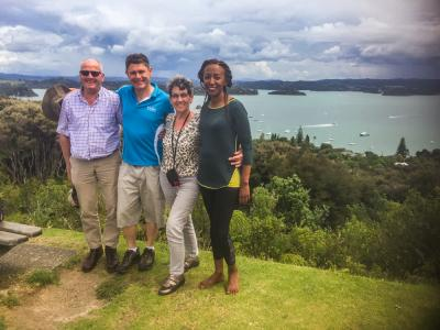 MoaTrek Guide and guests at the Flagstaff Hill lookout in the Bay of Isalnds
