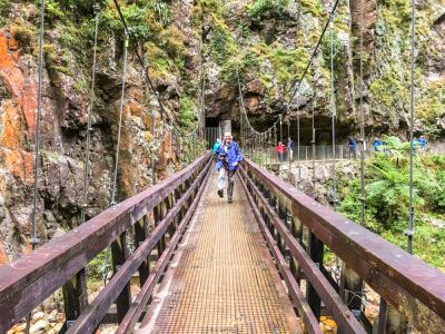 Walker on a swingbridge in the Karangahake Gorge