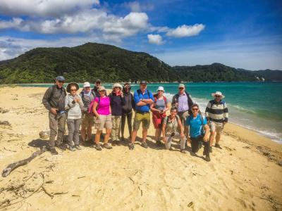 MoaTrek Team Photo with Guide on the beach in Abel Tasman