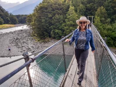 Crossing the Swingbridge on the walk to the Blue Pools, Mt Aspiring National Park