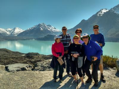 Walkers at the Tasman Glacier Lake