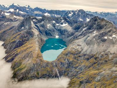 Alpine Lakes in Fiordland taken from the air