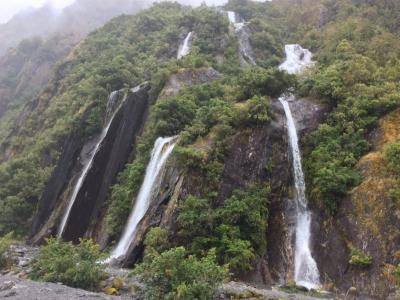 Waterfalls in the Franz Josef Glacier Valley
