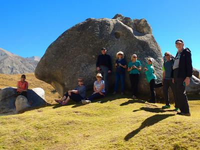 Team photo at Castle Hill - MoaTrek Small Group Tours