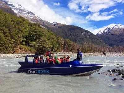 Riding the Dart River Jetboat near Queenstown