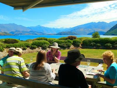 Lunch on the lawn, Lake Wanaka - MoaTrek Small Group Tours