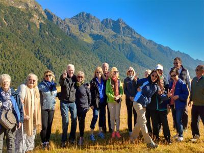 Tour group in the sunshine on the Milford Road