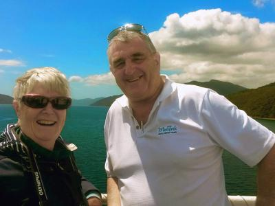 Guide and guest on the Cook Strait Ferry - MoaTrek