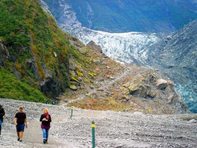 Walking to the terminal face of Fox Glacier