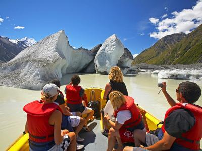 Inflatable boat on the Tasman Glacier termial lake - Mt Cook