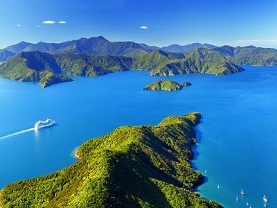Aerial photo of the Cook Strait, Marlbourough Sounds and Interislander Ferry