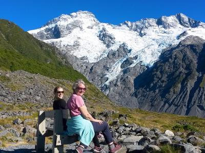 Ladies enjoying the glacier views in Mt Cook - MoaTrek