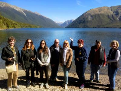 Team photo at Lake Rotoiti, Nelson Lake National Park - MoaTrek
