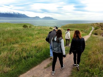 Walking at Kaikoura Peninsula with ocean and mountain views - NZ short walks with MoaTrek