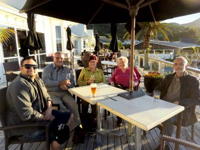 Group relaxing in the Hokianga on the first night of their MoaTrek tour