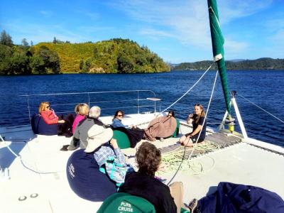 Onboard our yacht on Lake Rotoiti - MoaTrek