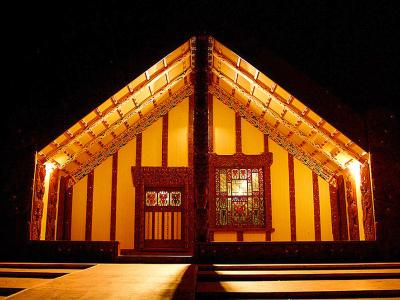 Maori meeting house at night, Rotorua