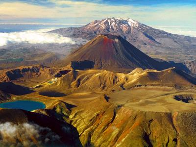 Volcanic cones of Ruapehu, Ngaurahoe and Tongariro - New Zealand