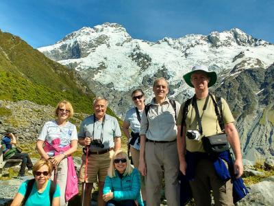 Small group walking in Mt Cook