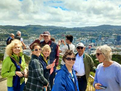 Happy team at Mt Victoria lookout, Wellington - MoaTrek Small Group Tours