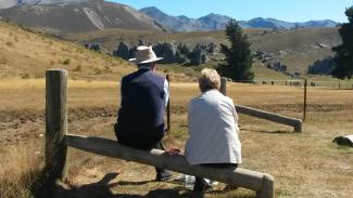 Carol and Harold admiring the beauty of mountains - Tour Review