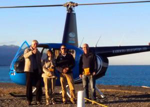 Happy MoaTrek guests after the flight of a helicopter - Tour Review